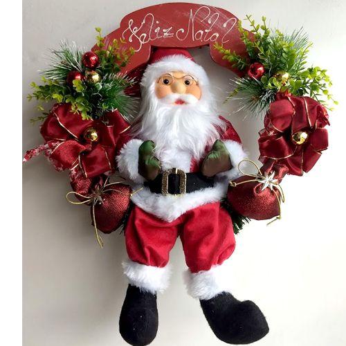 Guirlanda Papai Noel 50cm Vermelho brilho - Vicentin