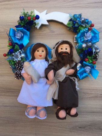 Guirlanda José, Maria e menino Jesus Vicentin