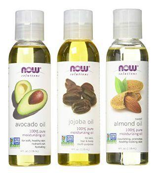 NOW FOODS Variety Moisturizing Oils Sampler: Sweet Almond, Avocado, and Jojoba Oils