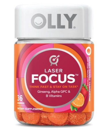 OLLY Laser Focus Gummies with Ginseng, Alpha GPC & B Vitamins, 36 ct