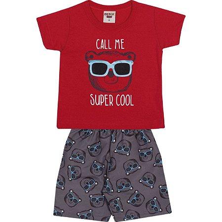 Conjunto Camiseta e Bermuda Super Cool Vermelho - Pimentinha Kids