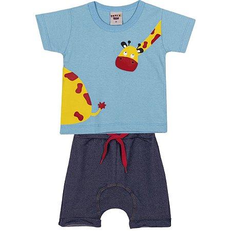 Conjunto Camiseta e Bermuda Girafa Azul Claro - Pimentinha Kids
