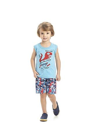 Conjunto Regata e Bermuda Time to Surf  Azul Claro - Pimentinha Kids