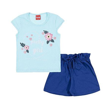 Conjunto Blusa e Short Pretty Girl Verde e Azul - Trenzinho