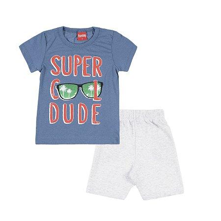 Conjunto Camiseta e Bermuda Super Cool Dude Azul - Trenzinho