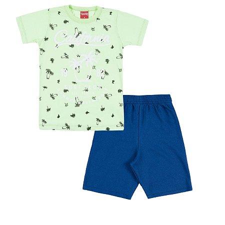 Conjunto Camiseta e Bermuda California Verde - Trenzinho
