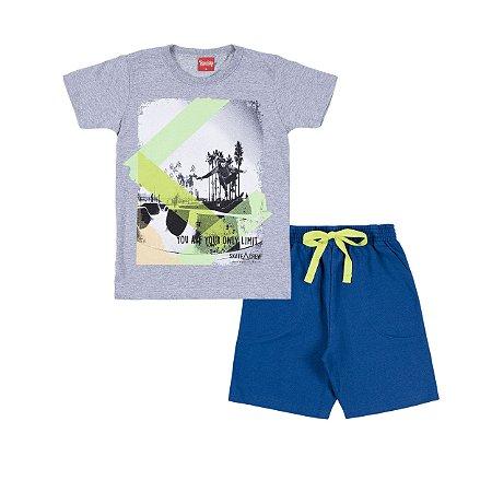 Conjunto Camiseta e Bermuda Limit Mescla Azul - Trenzinho