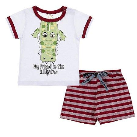 Conjunto Camiseta e Bermuda Alligator Vermelho - Fantoni