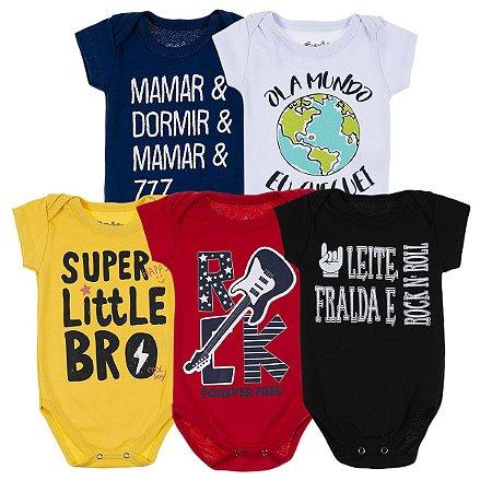 Kit Body Bebê 5 Peças Super Little Bro - Trenzinho