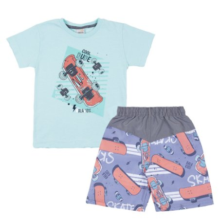 Conjunto Camiseta Cool Dude Azul e Bermuda Tactel