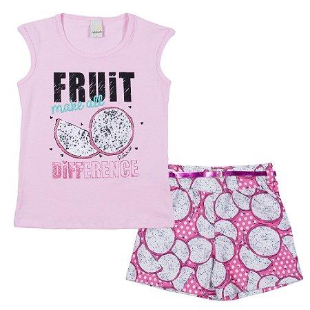 Conjunto Blusa Fruit Rosa com Short Crepe