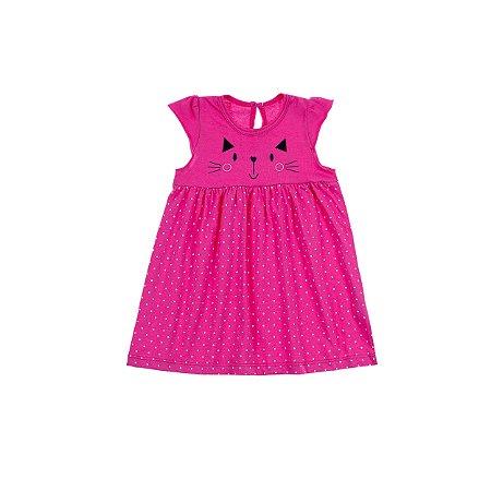 Vestido Gatinho Meia Malha com Saia Estampa Poá Pink