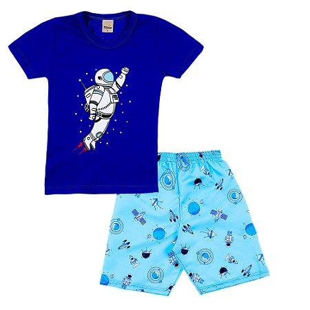 Conjunto Camiseta Astronauta e Short Azul Space - Pitico