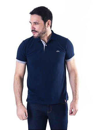 Camisa Polo Manga Curta Azul Marinho e Cinza Contraste - XK215-03