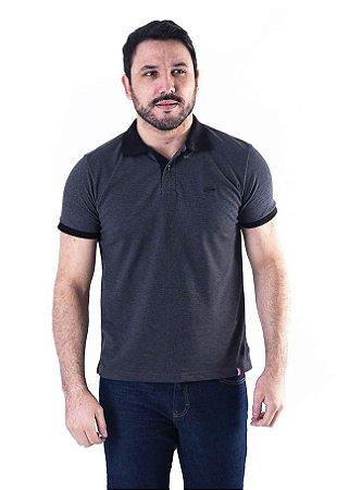 Camisa Polo Manga Curta Cinza Escuro e Preta Contraste - XK215-05
