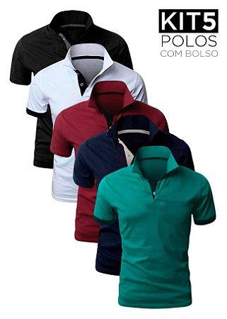 Kit 5 Camisas Polo com bolso – K5-XK213B