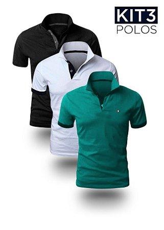 Kit 3 Polos Masculinas - Preta, Branca e Jade - K3-XK213-010209