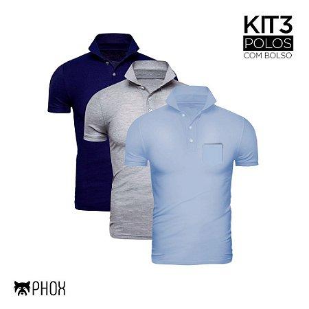 Kit 3 Polos Phox Premium com bolso - Azul Marinho, Cinza Claro, Azul Jeans