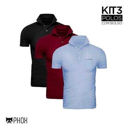 Kit 3 Polos Phox Premium com bolso - Preta, Bordô, Azul Jeans