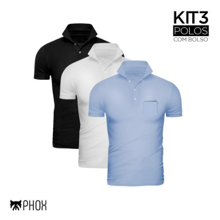 Kit 3 Polos Phox Premium com bolso - Preta, Branca, Azul Jeans