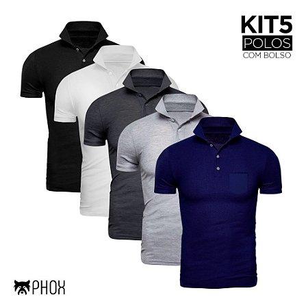 Kit 5 Polos Phox Premium com bolso - Preta, Branca, Cinza Escuro, Cinza Claro, Azul Marinho
