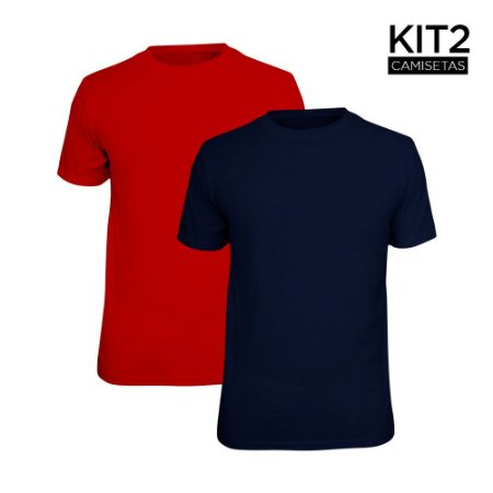 Kit 2 Camisetas Básica Lisa Phox Marinho, Vermelho 1030