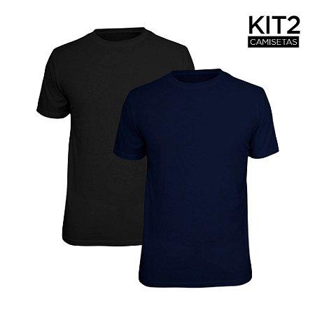 Kit 2 Camisetas Básica Lisa Phox Preta, Marinho 1030