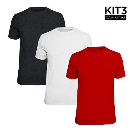 Kit 3 Camisetas Básica Lisa Phox Branca, Cinza Escuro, Vermelho 1030