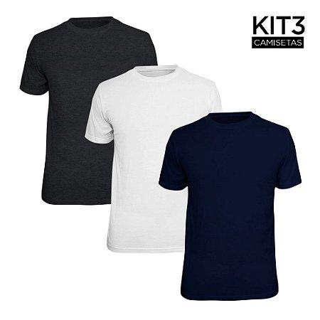 Kit 3 Camisetas Básica Lisa Phox Branca, Marinho, Cinza Escuro 1030