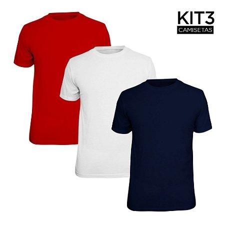 Kit 3 Camisetas Básica Lisa Phox Branca, Marinho, Vermelho 1030