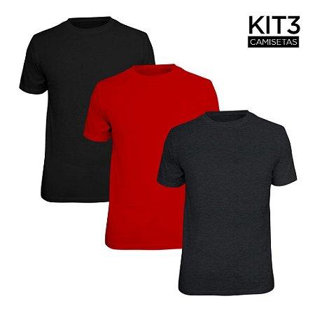 Kit 3 Camisetas Básica Lisa Phox Preta, Cinza Escuro, Vermelho 1030