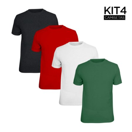 Kit 4 Camisetas Básica Lisa Phox Branca, Cinza Escuro, Vermelho, Verde Militar 1030