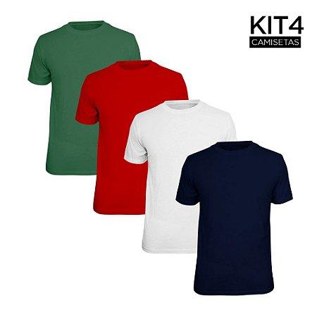 Kit 4 Camisetas Básica Lisa Phox Branca, Marinho, Vermelho, Verde Militar 1030