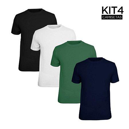 Kit 4 Camisetas Básica Lisa Phox Preta, Branca, Marinho, Verde Militar 1030