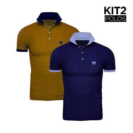 Kit 2 Polos Phox Gold - Marinho/Azul Jeans, Mostarda/Marinho 1020