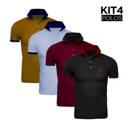 Kit 4 Polos Phox Gold - Preta/Vermelha, Bordô/Cinza Escuro, Azul Jeans/Marinho, Mostarda/Marinho 1020