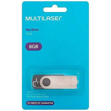 Pen Drive Multilaser Twist 8GB USB 2.0 Preto