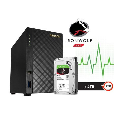 Storage NAS Asustor 2 Baias AS1002T2000 V2 Marvell Dual Core 1,6 GHz - 2TB