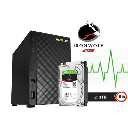 Storage NAS Asustor 2 Baias AS1002T6000 V2 Marvell Dual Core 1,6 GHz - 6TB