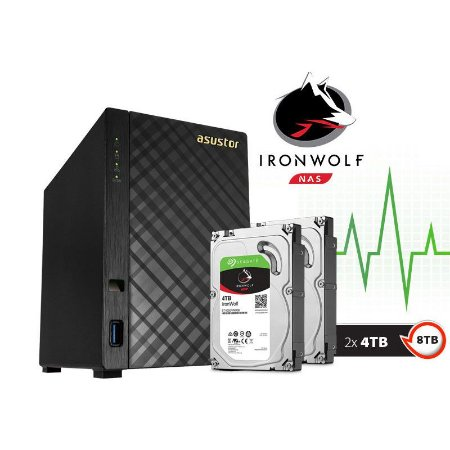Storage NAS Asustor 2 Baias AS1002T8000 V2 Marvell Dual Core 1,6 GHz - 8TB