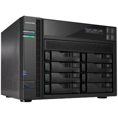 Storage NAS Asustor 8 Baias Hot-Swap AS6208T Celeron Quad Core 1,6 GHz - Sem HD