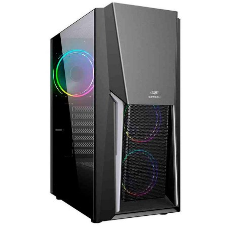 Gabinete Gamer C3Tech MT-G670 Sem Fonte Preto LED RGB