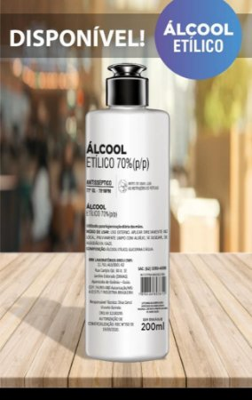 Alcool Etílico 70% - Antisséptico Bactericida 200ml