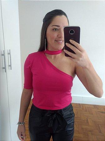 Blusa Um Ombro Só - Rosa Pink