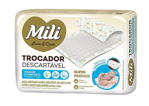 Trocador Descartável Mili Love & Care 5 Un Fralda Absorvente