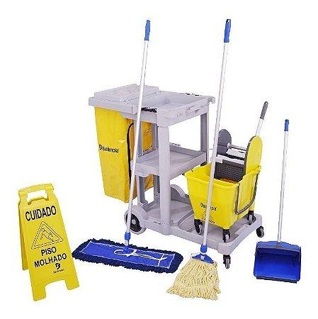 Carrinho De Limpeza Funcional Kit 3 Mop Bralimpia Completo