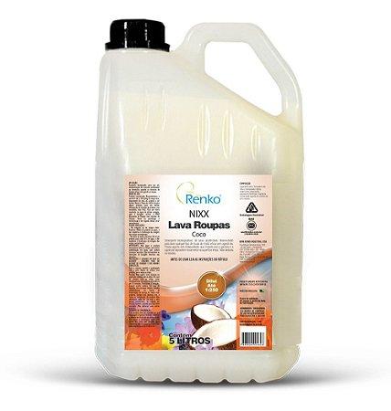 Detergente Lava Roupas Nixx Coco 5l Renko - Biodegradável Sem Residuos - Rende até 1250 Litros