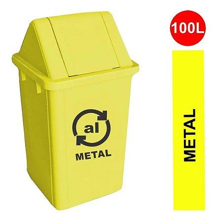 Cesto Coletor De Lixo Basculante Com Adesivo Metal 100l