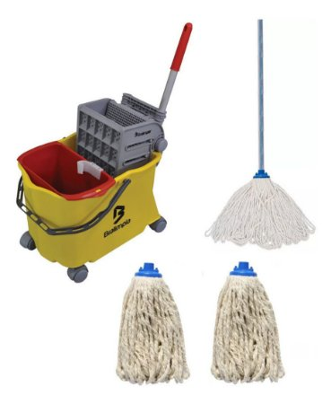 Carro Balde Funcional Kit Limpeza Bralimpia Com Rodo 2 Refil