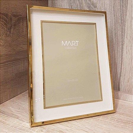 Porta Retrato Retangular em Metal 15cmx20cm Mart Collection Dourado
